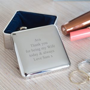 Engraved Square Trinket Box Gift
