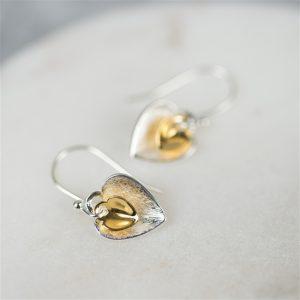 Silver Heart Earrings Gift For Women
