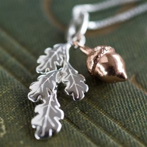 Leaf And Acorn Silver Necklace