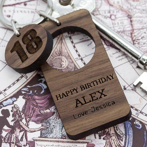 Personalised Walnut Birthday Keyring 2