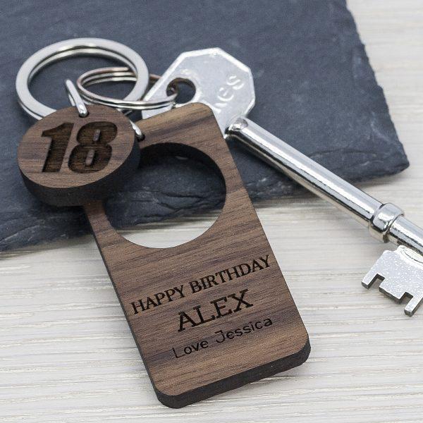 Personalised Walnut Birthday Keyring