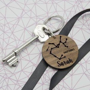Personalised Wooden Zodiac Keyring 3